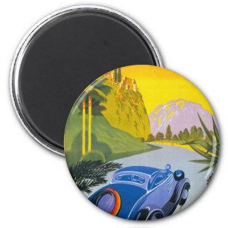 Visitez La Grece En Auto Retro Holiday Poster 2 Inch Round Magnet