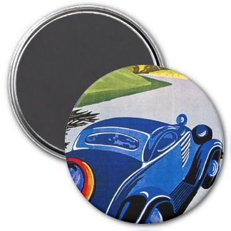 Visitez La Grece En Auto - Vintage Travel Poster 3 Inch Round Magnet
