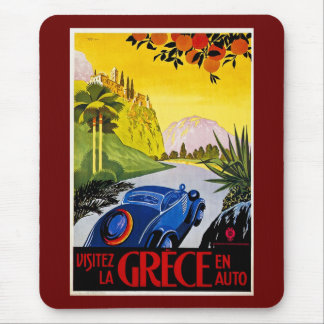 Visitez La Grece En Auto - Vintage Travel Poster Mouse Pad