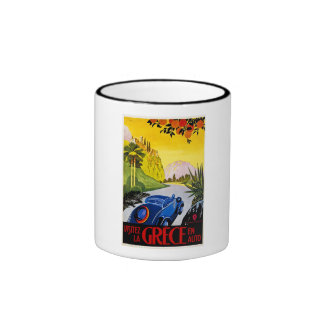 Visitez La Grece En Auto - Vintage Travel Poster Ringer Mug