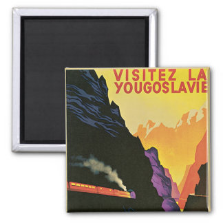 Visitez La Yougoslavie 2 Inch Square Magnet