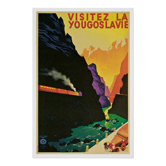"""Visitez la Yougoslavie"" Vintage Travel Poster"