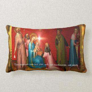 Visiting Baby Jesus Lumbar Pillow