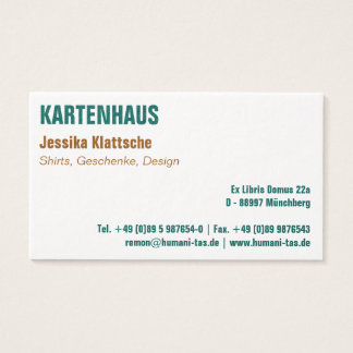 Visiting card clearly and clearly