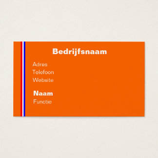 Visiting card orange with rood~wit~blauw line