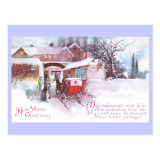 Visiting Friends by Carriage Vintage New Year Postcard