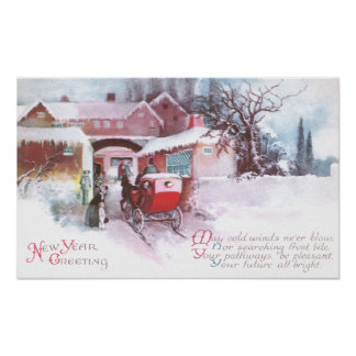 Visiting Friends by Carriage Vintage New Year Poster