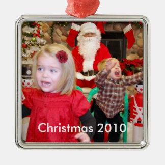 Visiting Santa, Christmas 2010 Metal Ornament