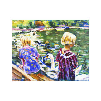 Visiting Swans Stretched Canvas Prints