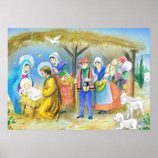Visiting the Christ child in Bethlehem Print