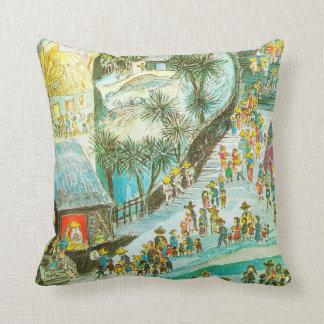 Visiting the Christ child in Bethlehem Throw Pillow