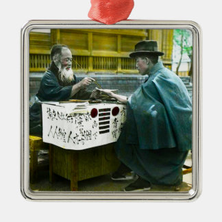 Visiting the Roadside Fortune Teller Old Japan Metal Ornament