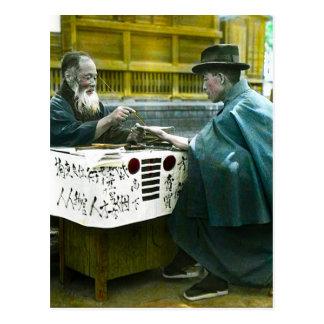 Visiting the Roadside Fortune Teller Old Japan Postcard