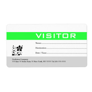 Visitor Badge Label Green Shipping Label