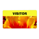 VISITOR Name tags Colorful Tulips Flower Shipping Labels