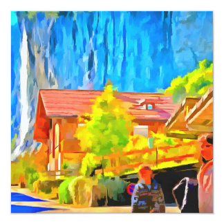 Visitors in a lovely setting in Switzerland Card