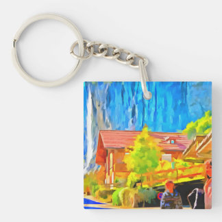 Visitors in a lovely setting in Switzerland Single-Sided Square Acrylic Keychain