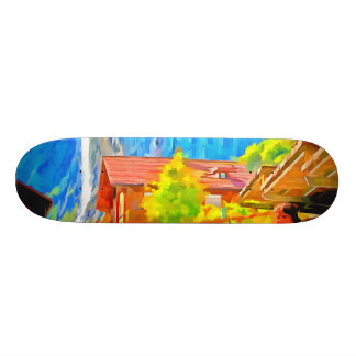 Visitors in a lovely setting in Switzerland Skateboard Deck