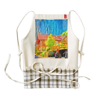 Visitors in a lovely setting in Switzerland Zazzle HEART Apron
