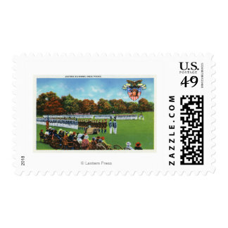 Visitors Reviewing a Dress Parade Postage Stamp