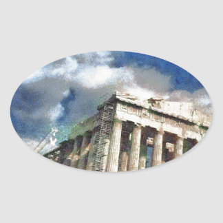 Visitors to Acropolis in Athens Oval Sticker