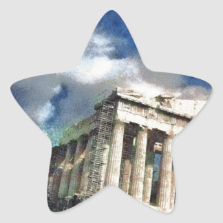 Visitors to Acropolis in Athens Star Sticker
