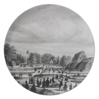Visitors viewing the Palm House at Kew Palace, c.1 Plate