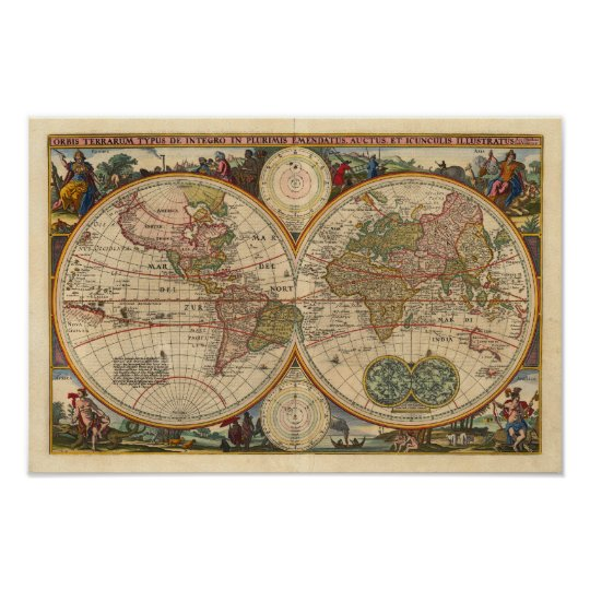 Visscher Nicolaas World Map 1670 Reproduction Poster