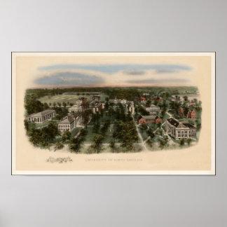 Vista 1907 de la universidad de Carolina del Norte Póster