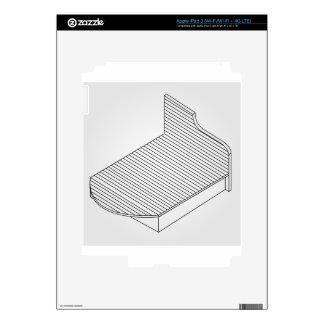 vista 3d de muebles de madera de la cama pegatinas skins para iPad 3