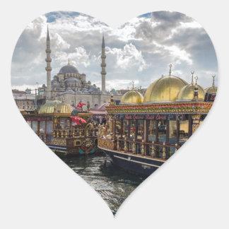 Vista a Estambul (Turquía) Pegatina En Forma De Corazón