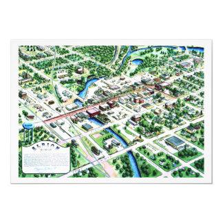 """Vista aérea de Albion Michigan 1993 Invitación 5"""" X 7"""""""