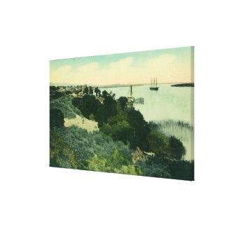 Vista aérea de Antioch y del río San Joaquin Impresión En Lona Estirada