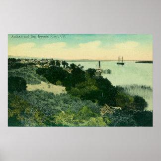 Vista aérea de Antioch y del río San Joaquin Póster