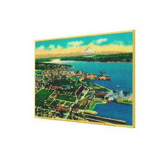 Vista aérea de Bremerton y del patio de marina de  Lienzo Envuelto Para Galerias