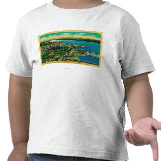 Vista aérea de Bremerton y del patio de marina de Camisetas