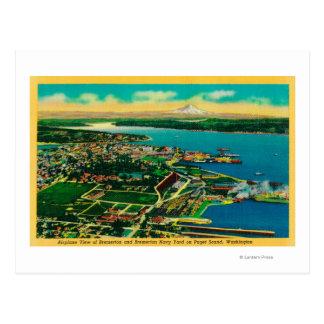 Vista aérea de Bremerton y del patio de marina de Postal