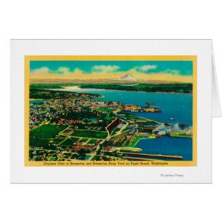 Vista aérea de Bremerton y del patio de marina de  Tarjeta
