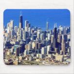 Vista aérea de Chicago céntrica con el lago Tapetes De Ratón