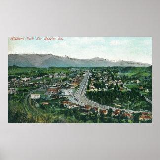 Vista aérea de Highland Park Póster