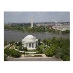 Vista aérea de Jefferson y del monumento de Washin Tarjeta Postal