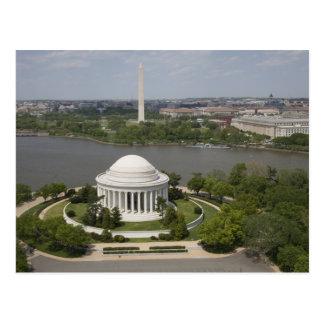 Vista aérea de Jefferson y del monumento de Washin Tarjetas Postales