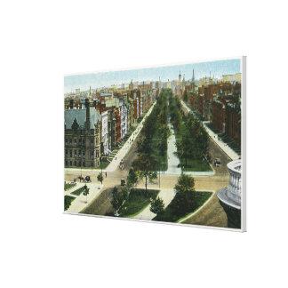 Vista aérea de la avenida de la Commonwealth Lona Envuelta Para Galerias