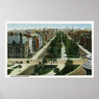 Vista aérea de la avenida de la Commonwealth Poster