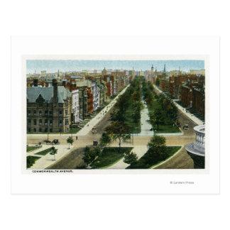 Vista aérea de la avenida de la Commonwealth Tarjetas Postales