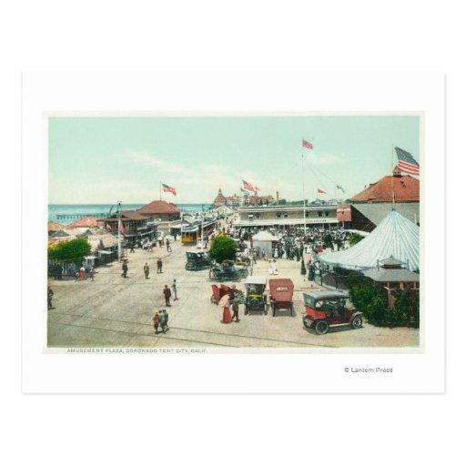 Vista aérea de la ciudad de la tienda y de la plaz tarjetas postales
