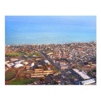 Vista aérea de la costa costa de Honolulu, Oahu, Postales
