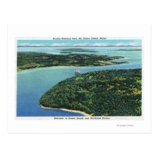 Vista aérea de la entrada de los sonidos de Somes Tarjeta Postal