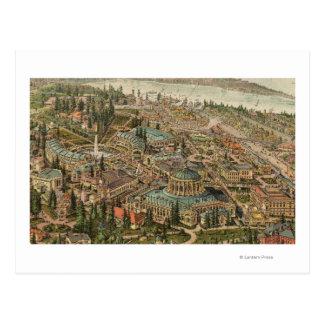 Vista aérea de la expo de Alaska el Yukón el Postales