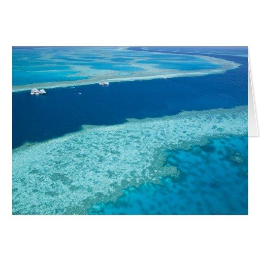 Vista aérea de la gran barrera de coral por tarjetón